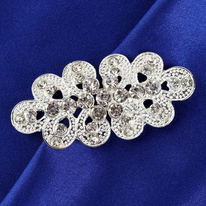Декоративная застёжка, 6 × 3 см, цвет серебряный