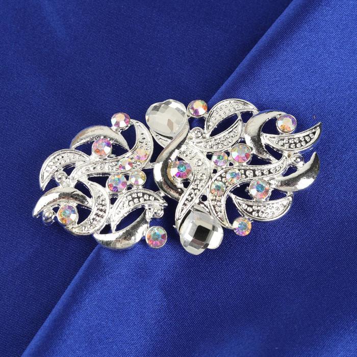 Декоративная застёжка, 7 × 3,7 см, цвет серебряный