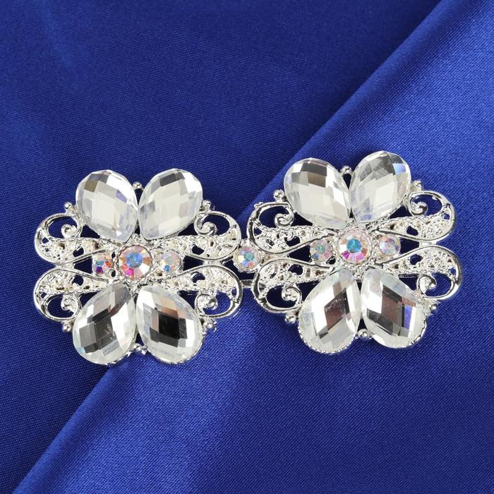 Декоративная застёжка, 7,2 × 3,5 см, цвет серебряный
