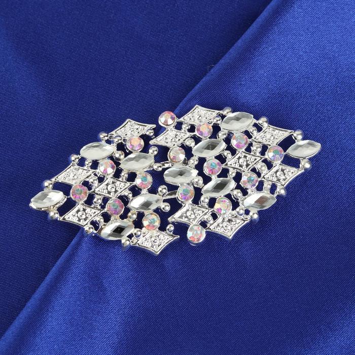 Декоративная застёжка, 7 × 3,3 см, цвет серебряный