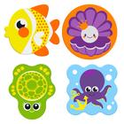 Мини-коврики для ванны «Морские друзья», на присосках, набор 4 шт.
