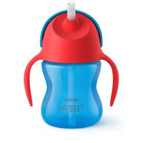 Чашка-поильник с трубочкой, 200 мл, от 9 мес., цвет синий