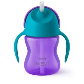 Чашка-поильник с трубочкой, 200 мл, от 9 мес., цвет фиолетовый