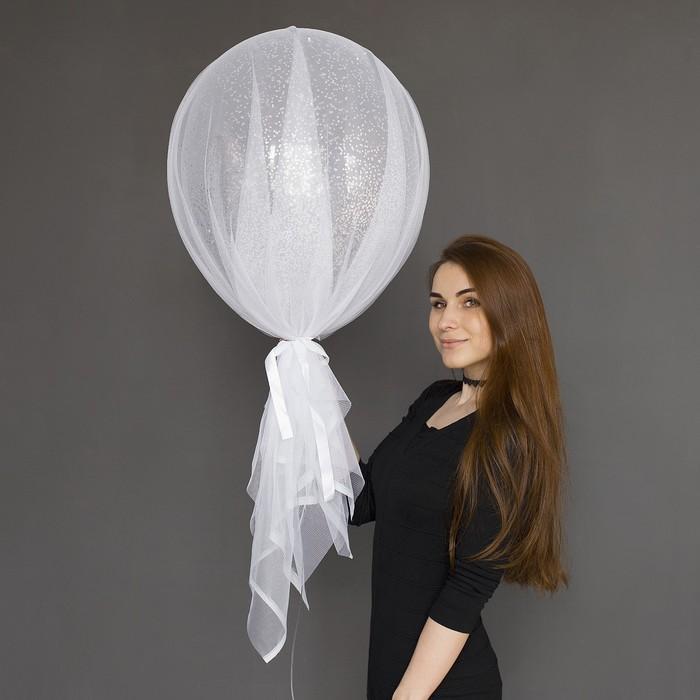 """Шар воздушный с фатином «Серебряные брызги», 18"""" - фото 308470338"""