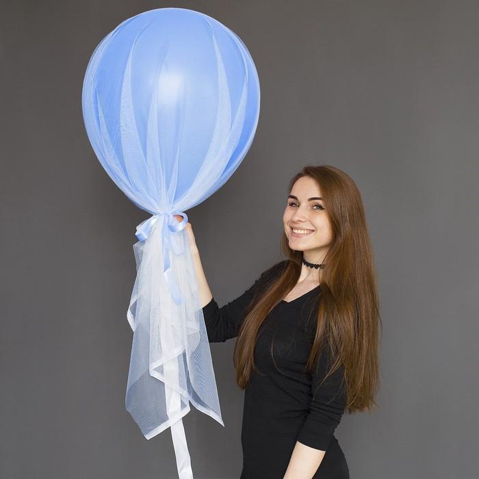 """Шар воздушный с фатином «Голубая лазурь»,18"""" - фото 308470350"""