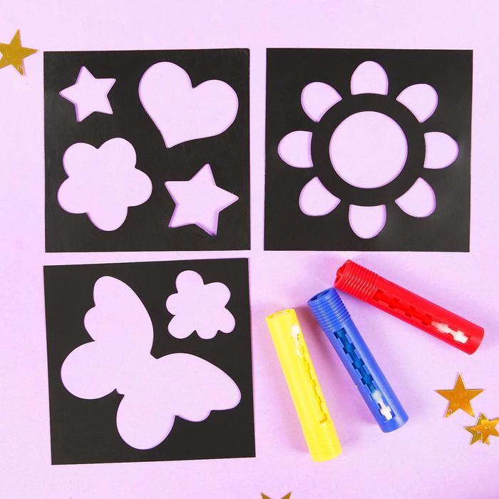 """Карандаши 3 цвета для ванной """"Чудесный день!"""", рисование по кафелю, ПВС трафареты 3 шт. - фото 443626370"""