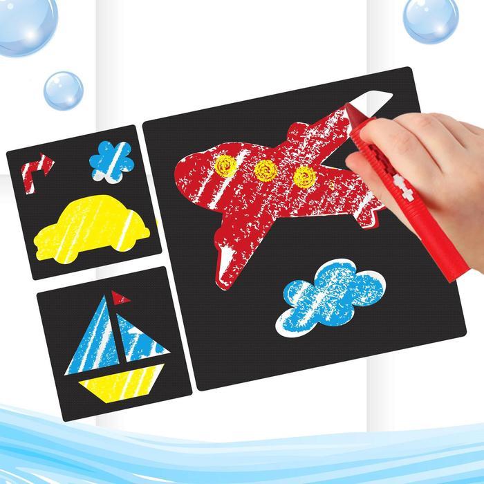 """Мелки для рисования в ванной """"Транспорт"""", набор: мелки 3 шт., трафареты 3 шт."""