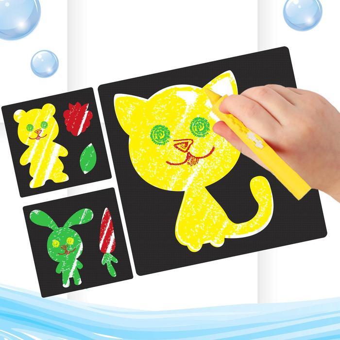 """Мелки для рисования в ванной """"Давай играть"""", набор: мелки 3 шт., трафареты 3 шт."""