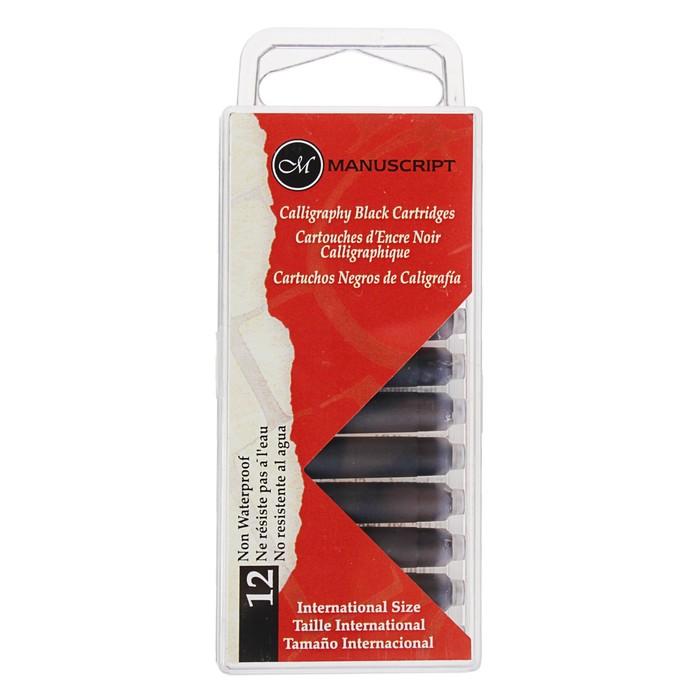 Картридж чернильный Manuscript Fountain Pen набор 12 шт х 38 мм чёрный в блистере MC0461CB