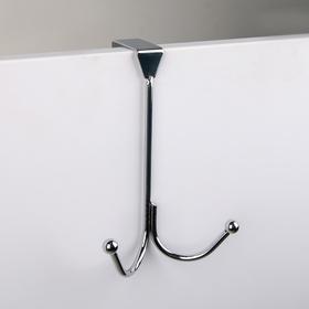Вешалка надверная 2 крючка «Лайт», 11×4,5×16 см, цвет хром