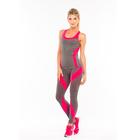 Леггинсы женские спортивные JC001 LEG, цвет серый меланж/розовый, р-р 40-42 (S)
