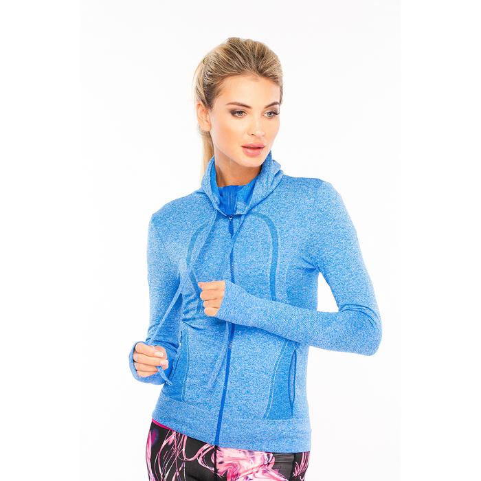 Толстовка женская спортивная 219, цвет синий меланж, р-р 40-42  (S)