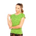Футболка женская спортивная LF006, цвет зелёный, р-р 40-46 (S/M)