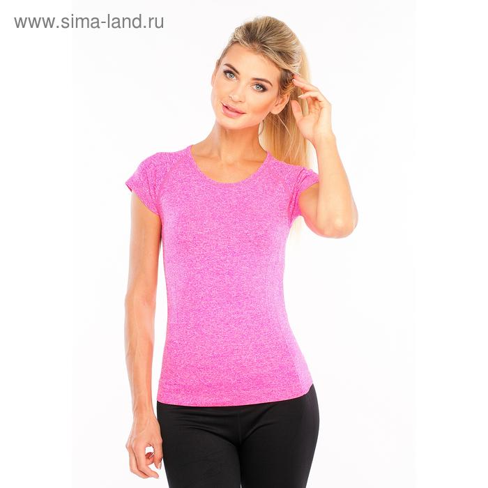 Футболка женская спортивная LF008, цвет розовый меланж, р-р 40-42 (S)