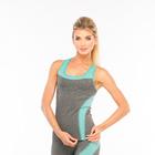 Майка женская спортивная JC002, цвет серый меланж/мятный, р-р 40-42 (S)