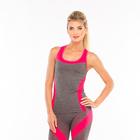 Майка женская спортивная JC002, цвет серый меланж/розовый, р-р 40-42 (S)