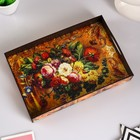 Tray with handles, Flowers, wood, 30,4x20,4x4,7cm