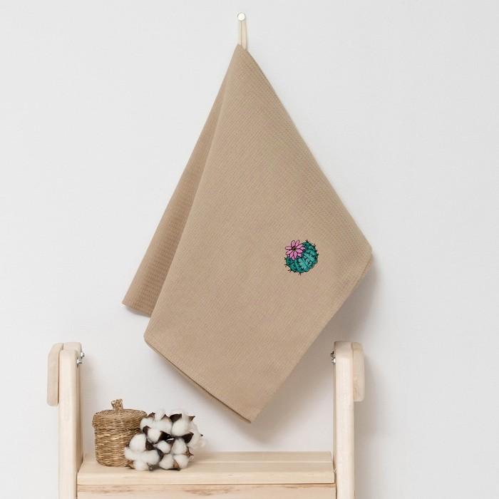 """Полотенце детское """"Доляна"""" Кактус, цвет песочный 40х70 см, 100% хлопок, 150 г/м²"""