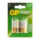 Батарейка алкалиновая GP Super, C, LR14-2BL, 1.5В, блистер, 2 шт. - фото 9148