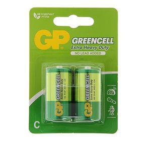 Батарейка солевая GP Greencell Extra Heavy Duty, С, R14-2BL, 1.5В, блистер, 2 шт.