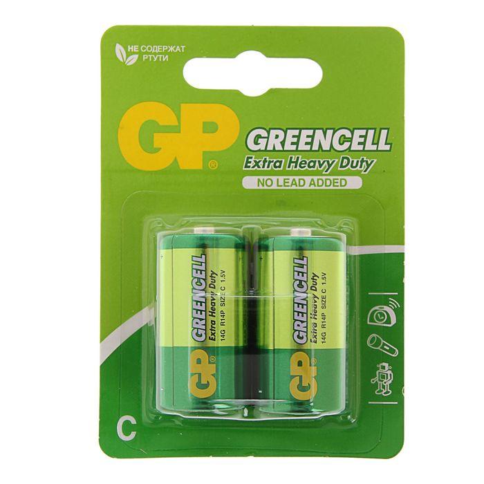 Батарейка солевая GP Extra Heavy Duty, С, R14-2BL, блистер, 2 шт.