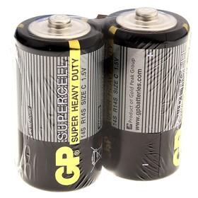 Батарейка солевая GP Supercell Super Heavy Duty, C, 14S / R14, 1.5В, спайка, 2 шт.