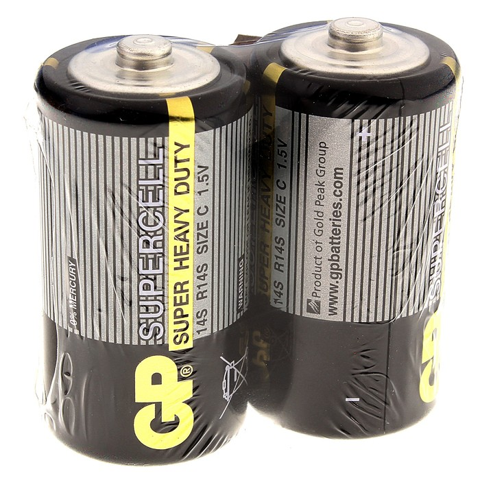 Батарейка солевая GP Super Heavy Duty, C, R14-2S, спайка, 2 шт.