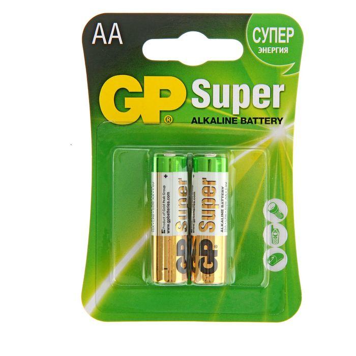 Батарейка алкалиновая GP Super, АА, LR6-2BL, блистер, 2 шт.