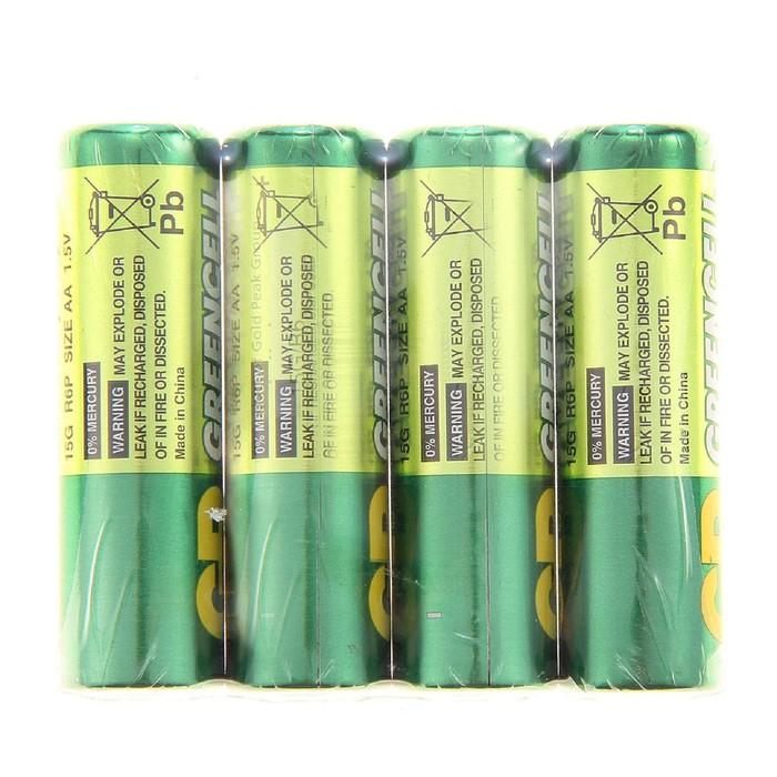 Батарейка солевая GP, АА, R6-4S, спайка, 4 шт.