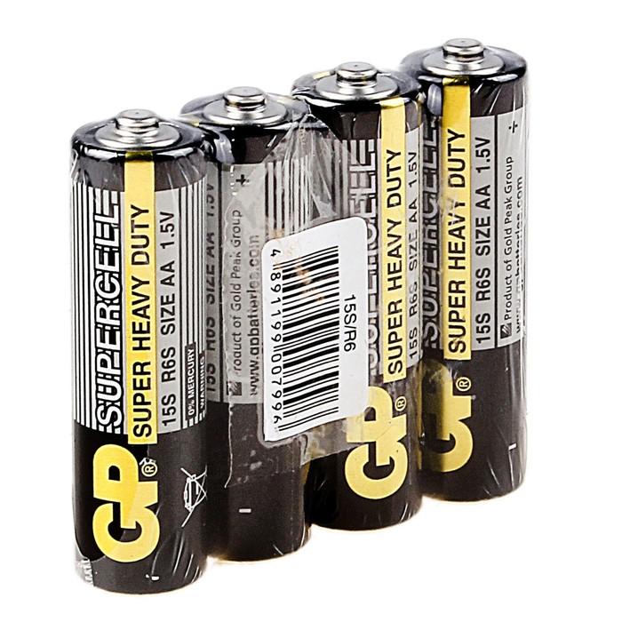Батарейка солевая GP Super Heavy Duty, АА, R6-4S, спайка, 4 шт.