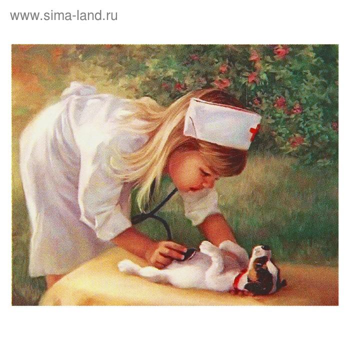 """Картина стразами """"Девочка и щенок"""""""