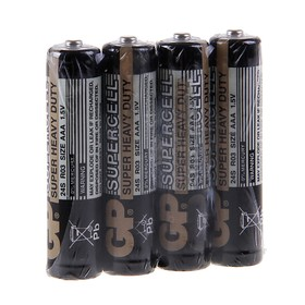 Батарейка солевая GP Supercell Super Heavy Duty, AAA, R03-4S, 1.5В, спайка, 4 шт.
