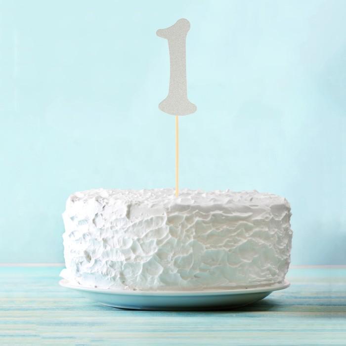 """Топпер в торт """"1"""" цвет серебро, набор 6 штук"""