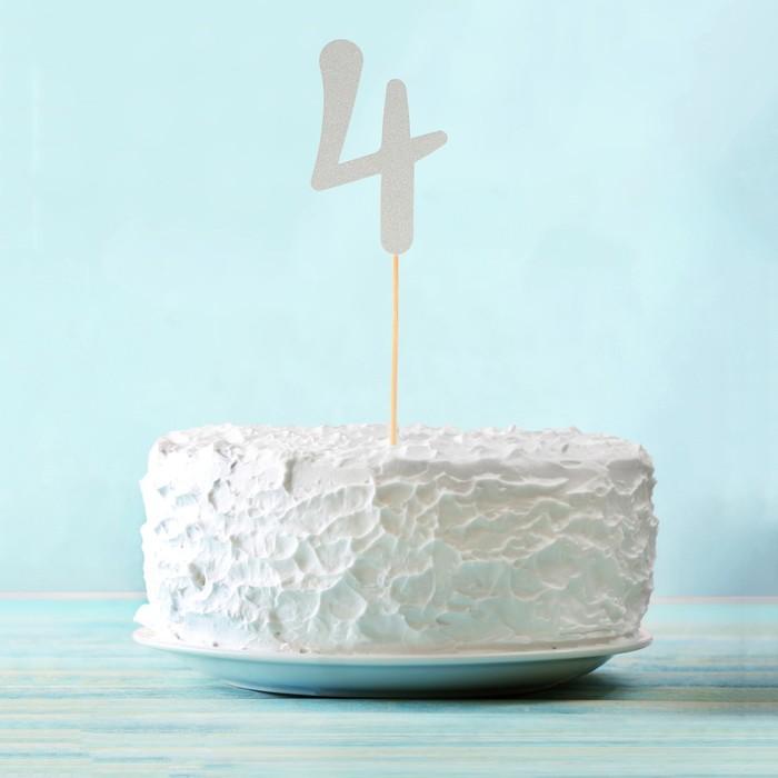 """Топпер в торт """"4"""" цвет серебро, набор 6 штук"""