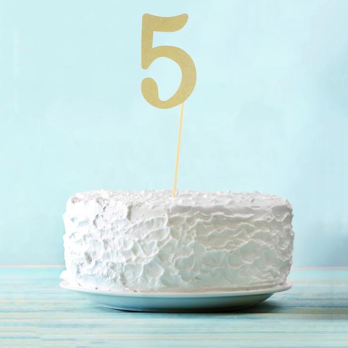 "Топпер в торт ""5"" цвет золото, набор 6 штук"