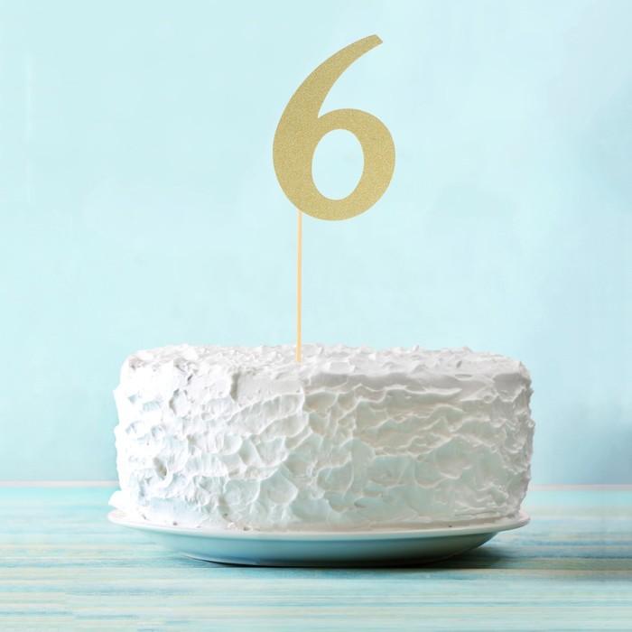 "Топпер в торт ""6"" цвет золото, набор 6 штук"