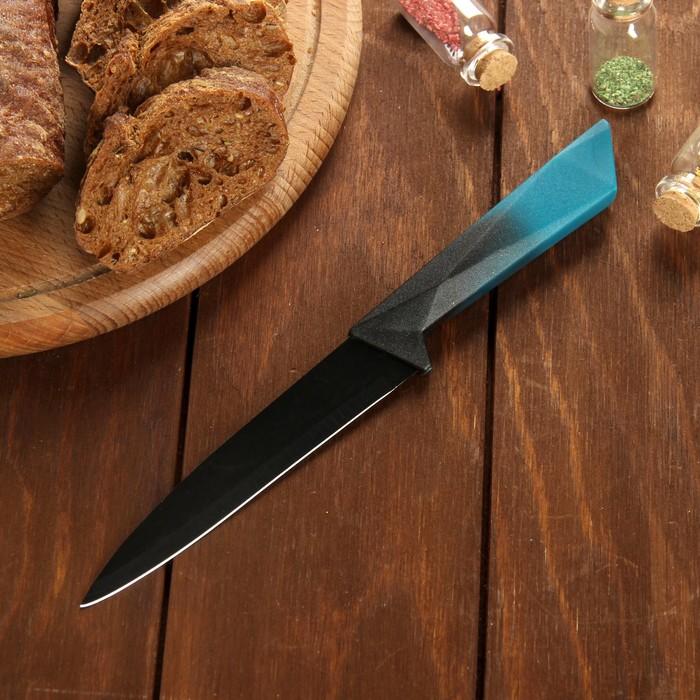 """Нож с антиналипающим покрытием """"Альфа"""" лезвие 12,5 см, цвет синий"""