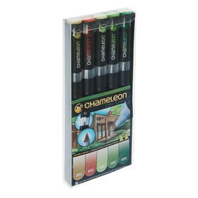 Набор художественных маркеров Chameleon, 5 цветов, двусторонний, пулевидный, 1.0, спиртовая основа, природные тона