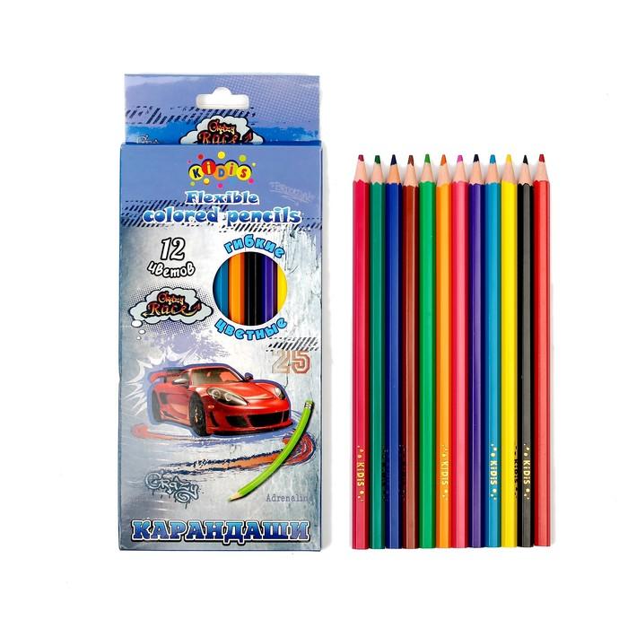 Карандаши 12 цветов, пластиковые, гранённые, в картонной коробке, «Машина» - фото 440956309