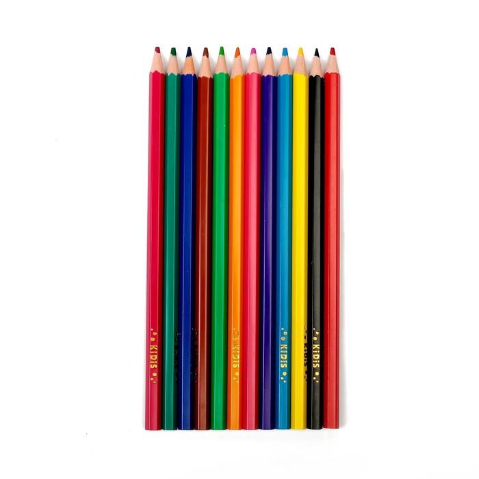 Карандаши 12 цветов, пластиковые, гранённые, в картонной коробке, «Машина» - фото 440956310