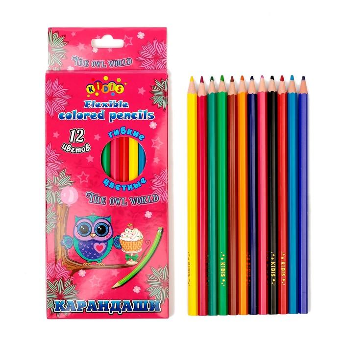 Карандаши, 12 цветов, пластиковые, гранённые, в картонной коробке, «Сова»