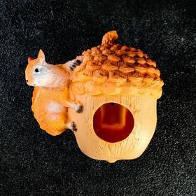 "Подвесной декор ""Орех-кормушка с белкой"" 18х16см"
