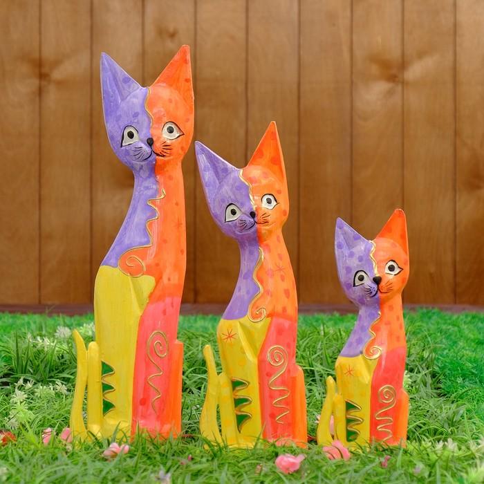 "Сувенирный набор дерево ""Кошки"" 25х8х50 см - фото 372963443"