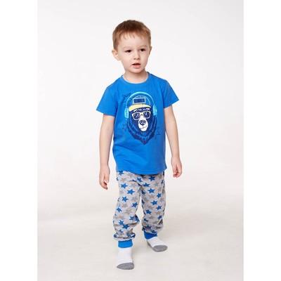 Пижама для мальчика, рост 92 см, цвет синий мишка/звезды