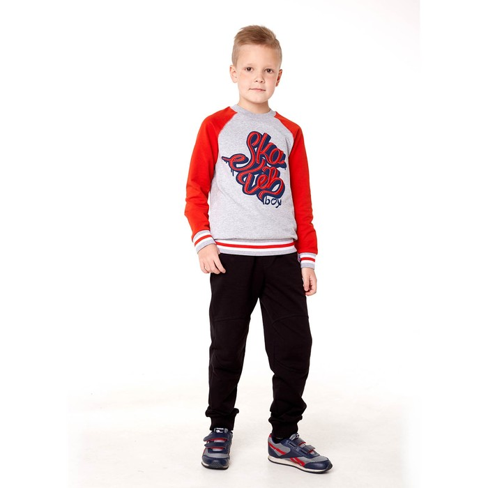 Толстовка для мальчика, рост 152 см, цвет серый меланж/красный