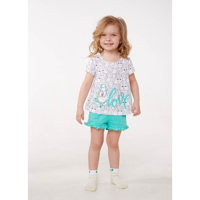 Пижама для девочки, рост 140 см, цвет овечки/бирюзовый