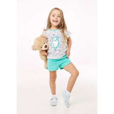 Пижама для девочки, рост 134 см, цвет овечки/бирюзовый 204-005-00001