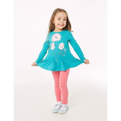 Туника для девочки, рост 104 см, цвет бирюзовый 206-005-11811