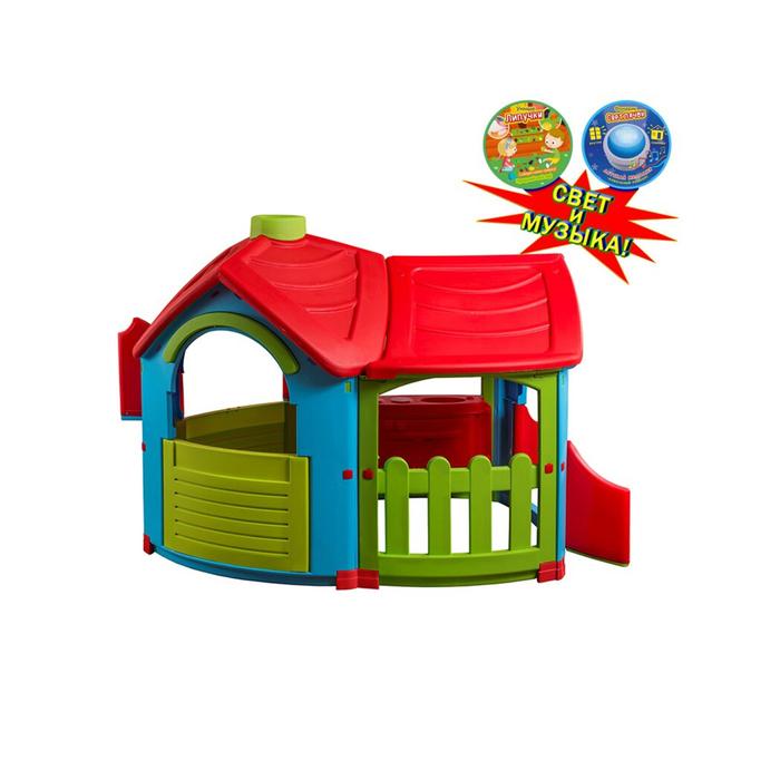 """Домик игровой """"Вилла с пристройкой"""", цвет голубой, зелёный, красный, со светом и музыкой"""