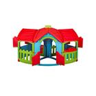 Домик игровой с двумя пристройками, цвет голубой, зелёный, красный
